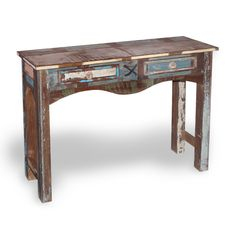 Wooden Hall Table Console Timber Drawers Rope Handles Rectangle Hallway Entryway