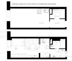 Планировка квартиры-студии с возведением перегородки