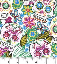 "Snuggle Flannel Fabric 42""-Multi Color Skulls"