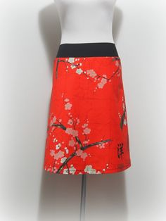 Aline skirt red oriental cherry blossoms by Wanderlust Clothing - by wanderlust on madeit