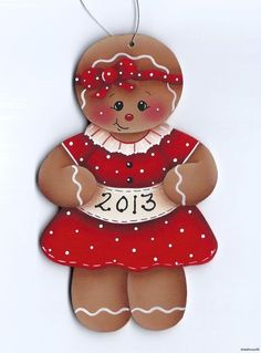 add red glitter to her dress & change the year to a name. Sweet Xmas tree ornament
