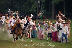 And they're off!  18th Century horse race at historic Colonial Williamsburg, Virginia.