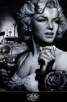 Marilyn monroe and 57 chevrolet. Marilyn Monroe Tattoo, Pop Art Marilyn Monroe, Marilyn Monroe Wallpaper, Marilyn Monroe Portrait, Marilyn Monroe Quotes, Zeichnung Marilyn Monroe, Lowrider Art, Norma Jeane, Pin Up