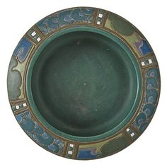 """Frederick Hurten Rhead (1880-1942) - For University City Pottery - Stylized Landscape Bowl. Incised, Painted & Glazed Pottery. Top View. University City, Missouri. Circa 1911. 2-1/2"""" x 7-3/4""""."""