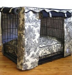 Transform an ordinary metal crate into a den of luxury with this Toile Crate Cover & Bed. The elegantly tailored cover surrounds pets with a sense of sense of security.