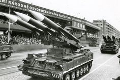 2K12 Kub surface-to-air missile launchers of the Czechoslovak People's Army rolling through Letná Park at the 1985 Czechoslovakian Liberation Day Parade.