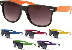Clash / Elvis Costello/ Wayfarer-Style Cheap Sunglasses- BLACK WITH COLORED ARM (Various Colors!) - only $4.99