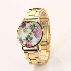 Rose Floral-Faced Watch w/ Free Shipping