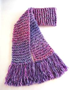 Pink and Purple Scarf Chunky Long Knitted Winter Scarf Women Teen Girl handmade by SticksNStonesGifts