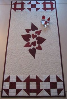 Red and white valentines day table runner