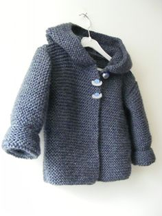 Ravelry: Paletot à capuche / Hooded baby jacket pattern by Mme Bottedefoin, with English (UK) pattern Baby Knitting Patterns, Knitting For Kids, Baby Patterns, Free Knitting, Knitting Projects, Finger Knitting, Toddler Sweater, Knit Baby Sweaters, Knitted Baby Clothes