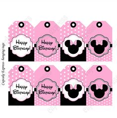 free minnie mouse printables | Minnie Mouse Light Pink Printable Hanging Tags