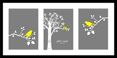 "Wedding Gift Personalized Custom Love Birds Family Tree - Love Birds on Branch - Set of three 5""x7""s (Yellow/Gray)"