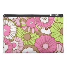 Pretty Pink Green Flowers Spring Floral Pattern Travel Accessories Bag