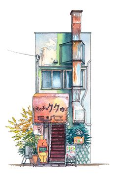 Tokyo Storefronts, Illustrations by Mateusz Urbanowicz Watercolor project spawned by the admiration of Japanese architecture, and their profound resilience throughout the years against earthquakes. Art And Illustration, Building Illustration, Watercolor Illustration, Illustrations, Drawn Art, Japanese Architecture, Drawing Architecture, Mughal Architecture, Futuristic Architecture