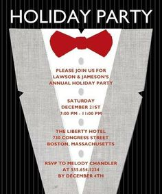 Black tie optional. Elegant Affair - Business #HolidayParty Invitations - Tiny Prints Studio Basics