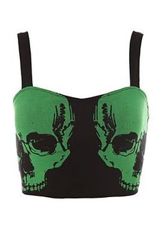 Teenage Runaway Green Skull Longline Bra #goth #fashion @HotTopic