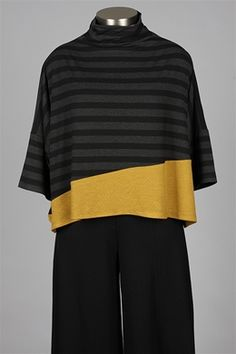 Alembika - Din Top - Black Grey & Gold. Lengthen a sweater that has shrunk a little too far by adding a panel of colour