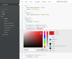 Brackets Color Editor  http://blog.brackets.io/2012/11/30/brackets-sprint-17-build/