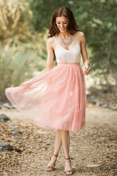 Tulle Midi Skirts for Women, Pink Tulle Skirts, Bridesmaids Skirts