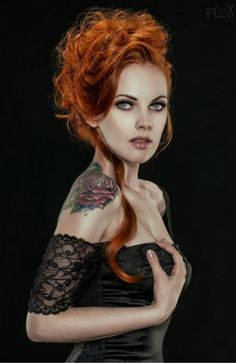Timeless Realness red hair updo tattoo