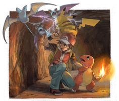 Pokémon, Charmander, Zubat, Pikachu, Fire (Pokémon), Red (Pokémon)