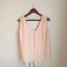 Light pink Alya top Light pink alya top with white sheer back. Light weight and loose fit. Worn once or twice, good condition, size M Francesca's Collections Tops
