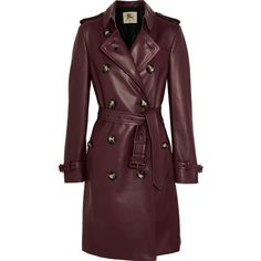 Burberry London Kensington leather trench coat ($4,270) ❤ liked on Polyvore featuring outerwear, coats, jackets, burberry, burgundy, trench coat, burgundy coat, brown coat, double-breasted coat and burgundy leather coat