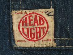 vintage workwear: Vintage HEADLIGHT Union Made Combination Denim & Hickory Stripe Work Coat