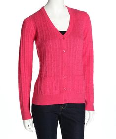 Take a look at this Raspberry Biella Cable-Knit Wool Cardigan on zulily today!