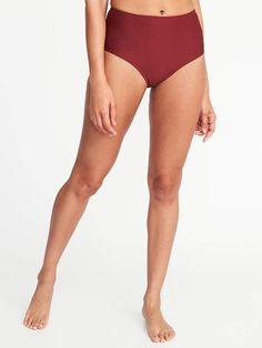 ba8146958a Old Navy Mid-Rise Textured-Stripe Swim Bottoms for Women High Waisted  Bikini Bottoms