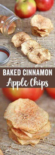 Chose your favorite apple variety to make these simple and healthy baked cinnamon apple chips! These crisp apple chips are delicious and addicting, without the guilt! via @foodiegavin