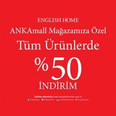 7-8 Nisan tarihlerinde English Home #ANKAmall Mağazasına özel tüm ürünlerde % 50 indirim! #Englishhome, #ANKAmall -1. Katta.