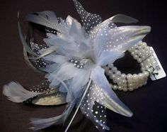 prom corsages for 2013 | Wedding Prom Wrist Flower Feather Corsage Grey | eBay