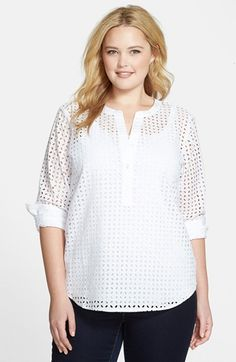 MICHAEL+Michael+Kors+Eyelet+Henley+Top+(Plus+Size)+available+at+#Nordstrom