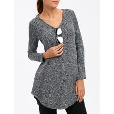 Circle Arc Hem Ribbed Sweater, GRAY, XL in Sweaters & Cardigans | DressLily.com