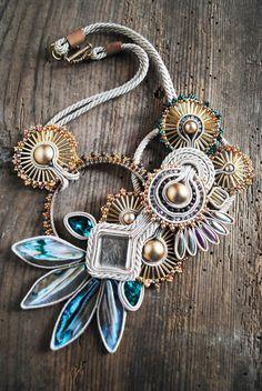 Soutache necklace soutache jewelry swarovski by ByMimmiShop