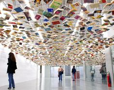 book ceiling, art installation