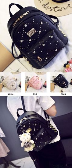 Which color do you like? Sweet PU Rivet Girl College Rucksack Quilted School Backpack #sweet #PU #rucksack #college #rivet #bag #backpack