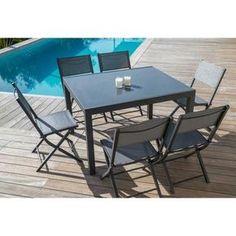 Ensemble de jardin 1 table extensible 120-180 + 6 chaises en aluminium et textilène - Gris foncé - Achat / Vente salon de jardin 1 table + 6 chaises - Cdiscount