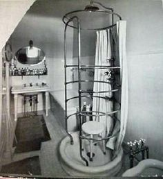 c.1900 bathroom featuring J.L. Mott fixtures, including a Ribcage needle shower