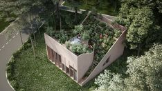 Compact self-sufficient house has a terraced roof garden