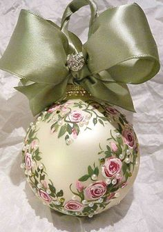 handpainted roses with pearls ornament - so pretty yet elegant was available via Etsy