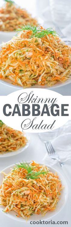 This Skinny Cabbage Salad is the perfect recipe for summer: light, fresh, healthy and soooo easy to make. Oh! And it helps you lose pounds too! ❤ COOKTORIA.COM