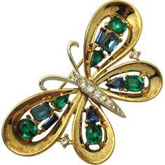 Very Rare TRIFARI A Philippe Jeweled Symphony Rhinestone Butterfly Brooch