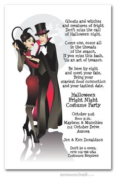 A sinister couple dressed in their vampire best waltz under a fun moon. With a black cat too, these are frightfully fun Halloween party Invitations your guests will love. Actual Size: x Masquerade Invitations, Halloween Costume Party Invitations, Costume Birthday Parties, Halloween Party Supplies, Halloween Party Costumes, Halloween Fabric, Vampire Halloween Party, Halloween Night, Scary Halloween