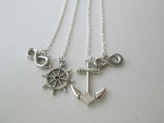 LOVE Sailor Wheel and Large Anchor, Infinity Best Friend Jewelry on Etsy, $28.00