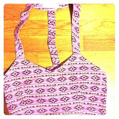 Of Millau pink Aztec crop top Aztec printed crop top with caged razor back, cotton fabric Millau Tops Crop Tops