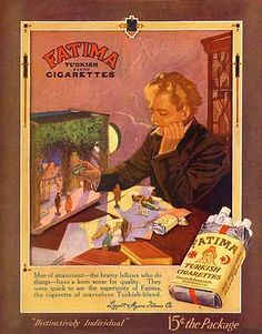 """Fatima Turkish Cigarettes, """"Men of attainment - the brainy fellows who do things - have a keen sense of quality."""" (1913)"""