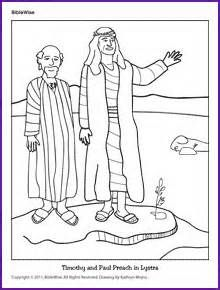 Acts 13:1-15:35; Paul's First Journey- Timothy and Paul Preach in Lystra Coloring Page